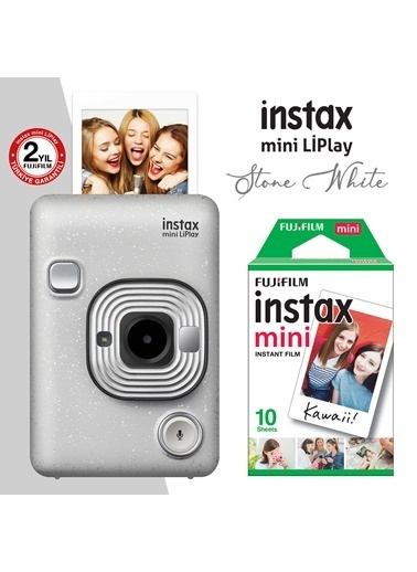 Fujifilm Fujifilm instax mini LiPlay Hybrid Stone White Fotoğraf Makinesi 10lu mini Film Beyaz